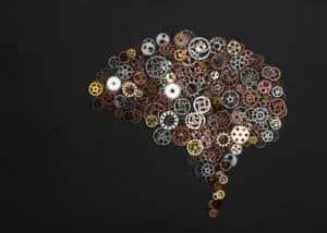 Junior Campus OOL lessenserie Growth Mindset - Brain image made out of little cogwheels- onderzoekend en ontwerpend leren