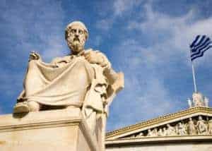 Junior Campus OOL lessenserie Filosofie - standbeeld Griekse filosoof - onderzoekend en ontwerpend leren